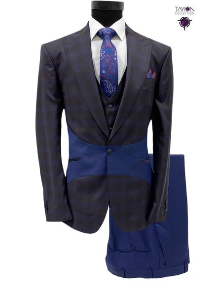 Tayion Geometric Plaid Compose Suit