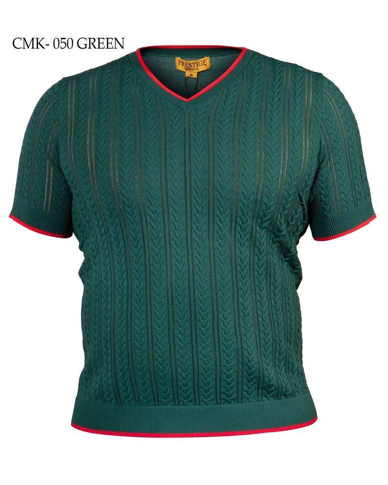 Prestige 2 Tone Ribbed V-Neck Knit