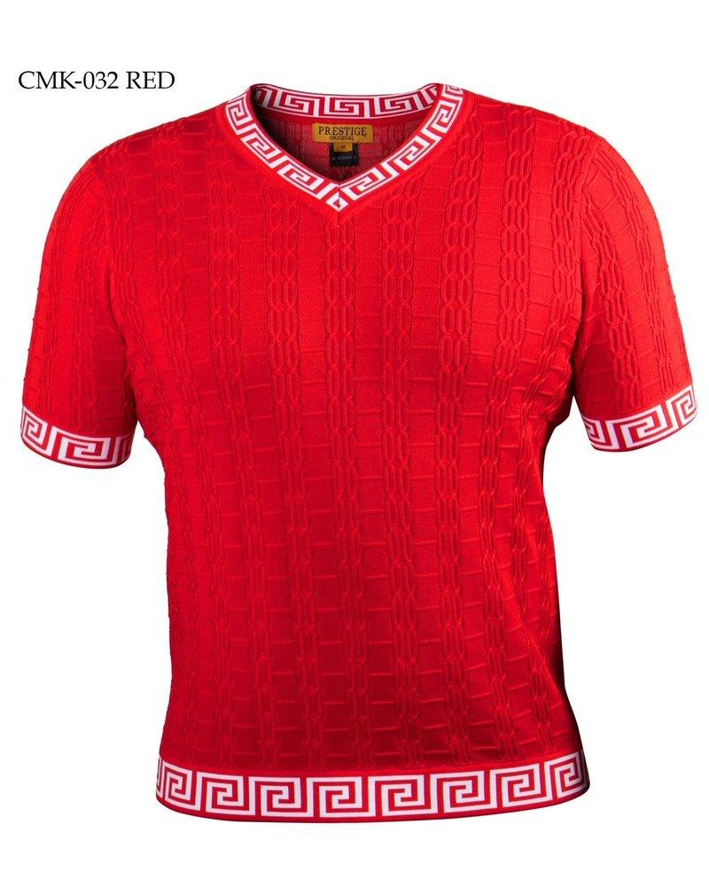S/S V-Neck Knit W/Greek Key