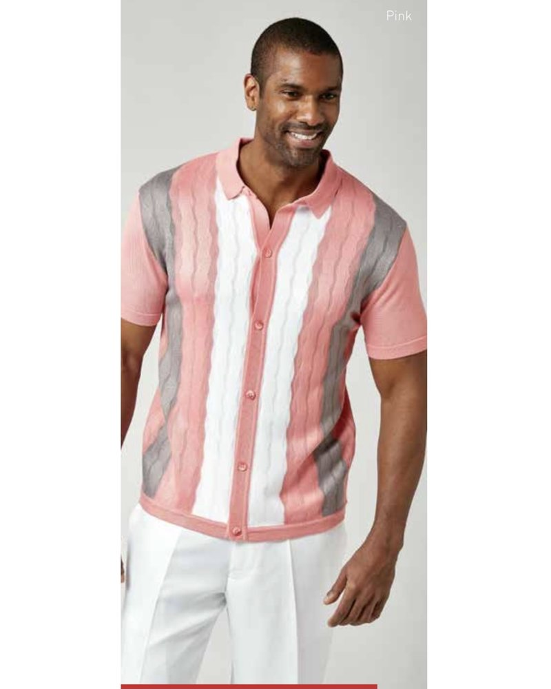 Stacy Adams S/S Button Down Knit Shirt (1214)
