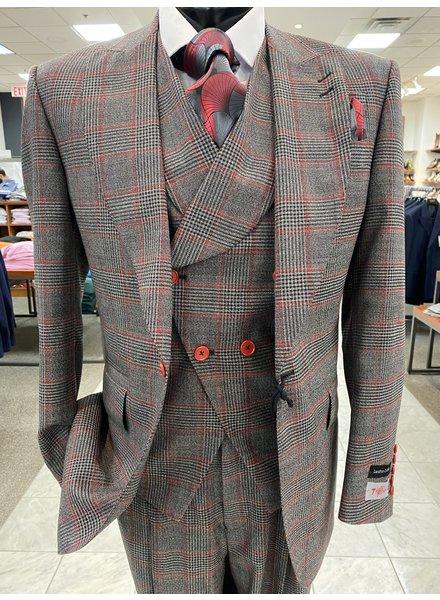 Tiglio Window Pane Plaid Vested Suit (New Rosso)