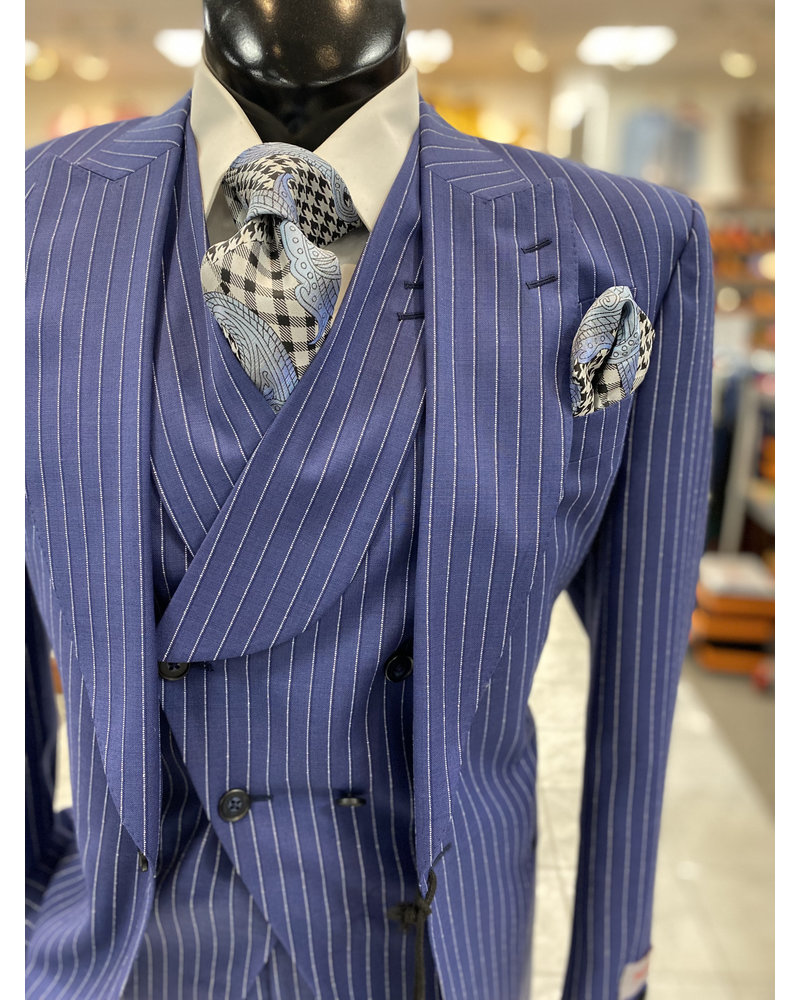 Tiglio Pinstripe Vested Suit (New Rosso)