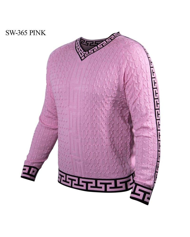 Prestige L/S Greek Key  V-Neck Textured Sweater