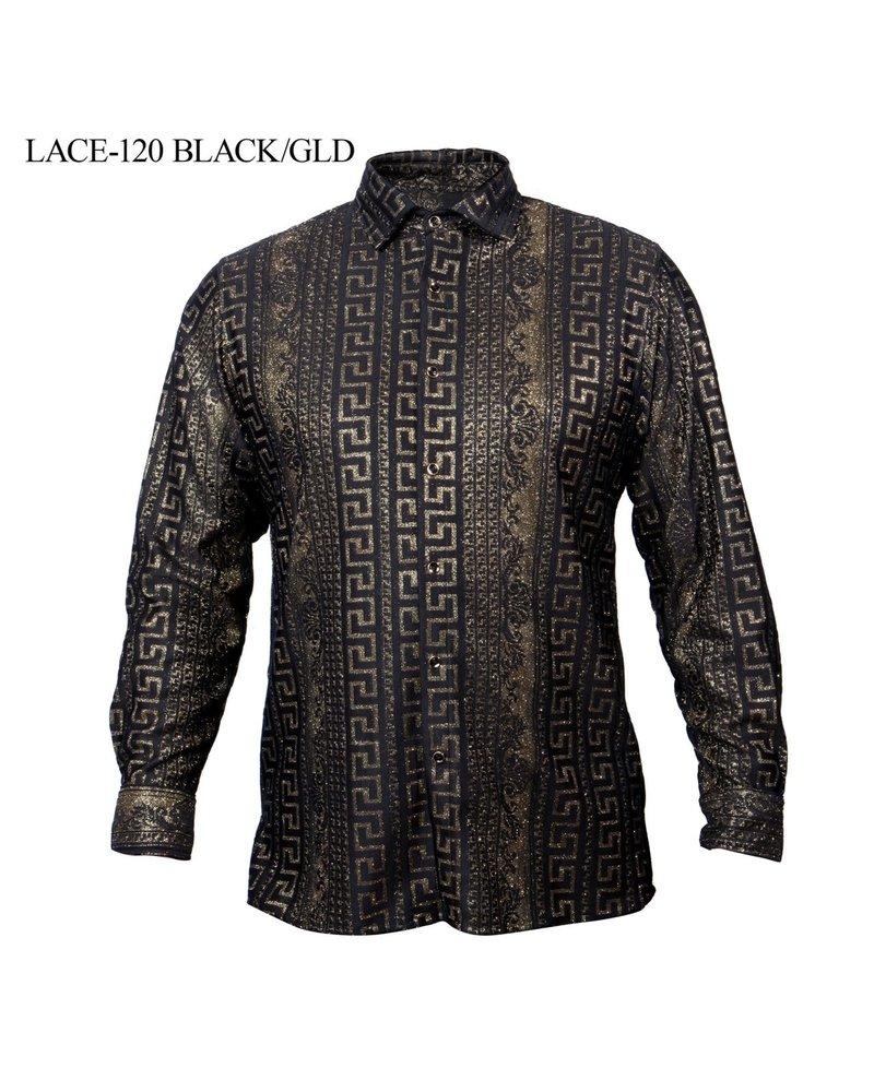 Prestige L/S Greek Metallic Lace Shirt