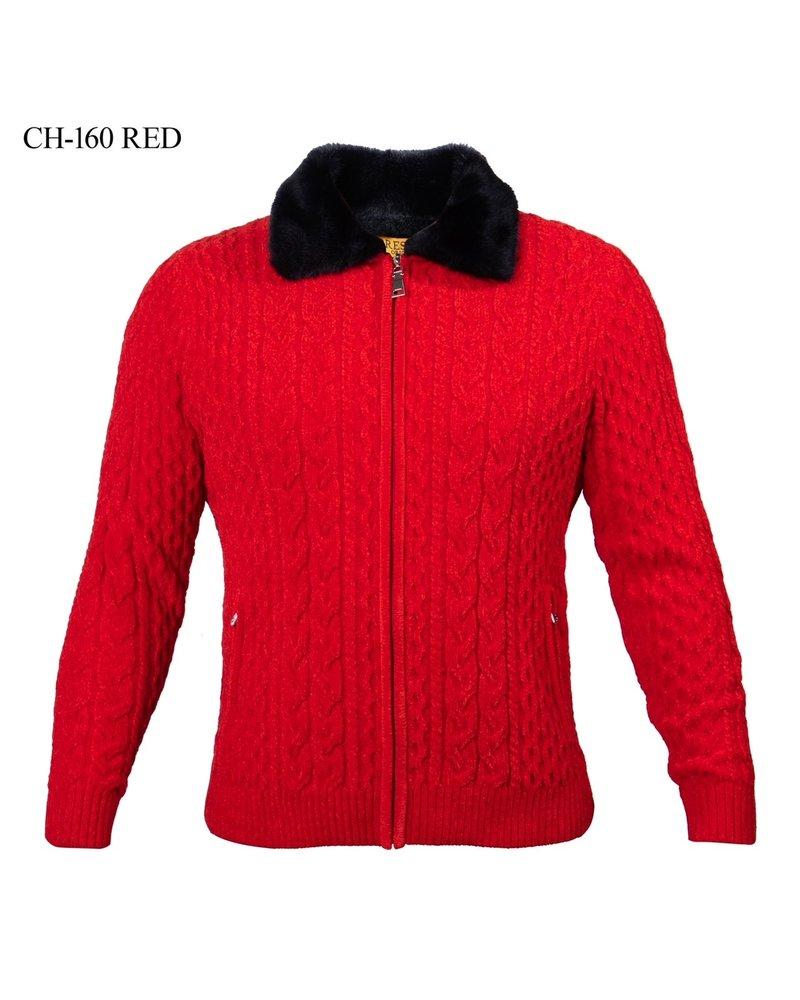 Prestige Chenille L/S FullZip Cable Sweater W/Fur