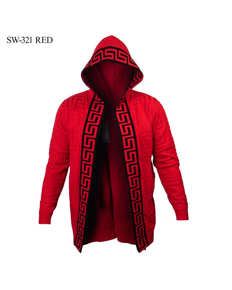 Prestige L/S Hooded Textured Greek Key Cardigan