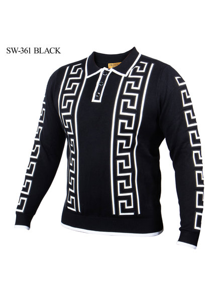 Prestige L/S Polo Leather Greek Key Texture Sweater