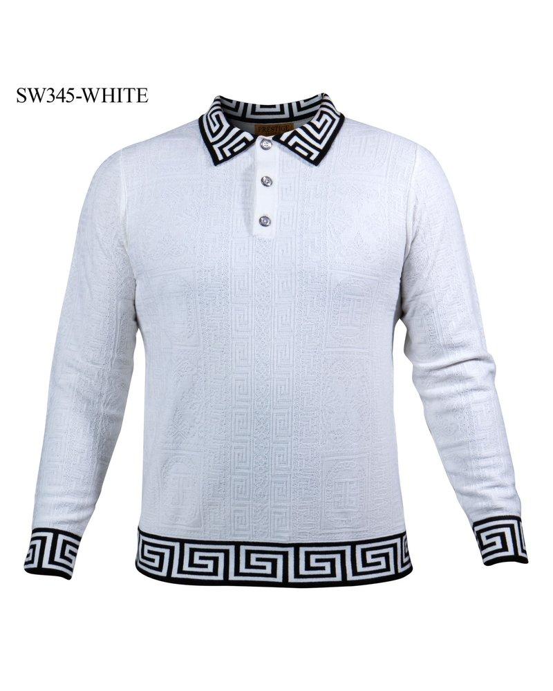 Prestige L/S Greek Key Polo Knit