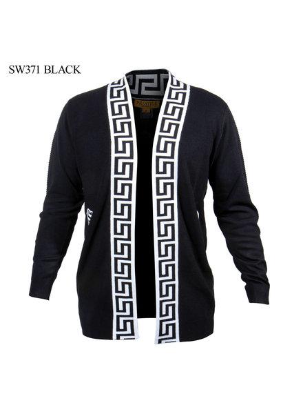Prestige L/S Embroidery Ribbed Greek Key Cardigan