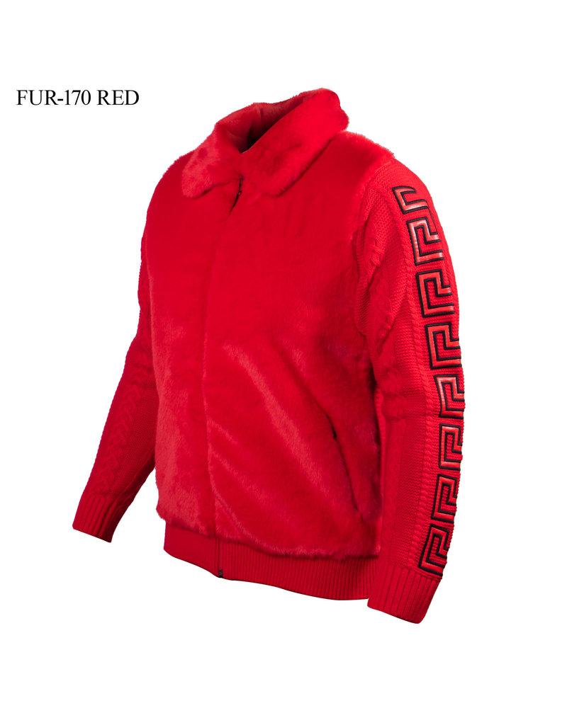 Prestige L/S Fur Knit Greek Key Leather Sweater
