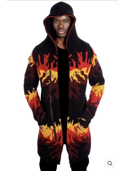 Black Edition Flame Hooded Cardigan