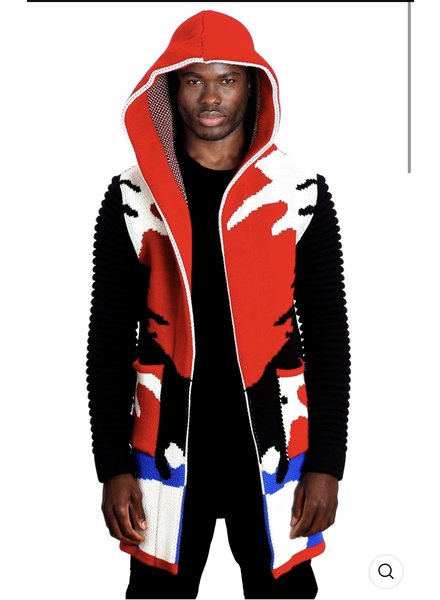 Black Edition Camouflage Hooded Cardigan