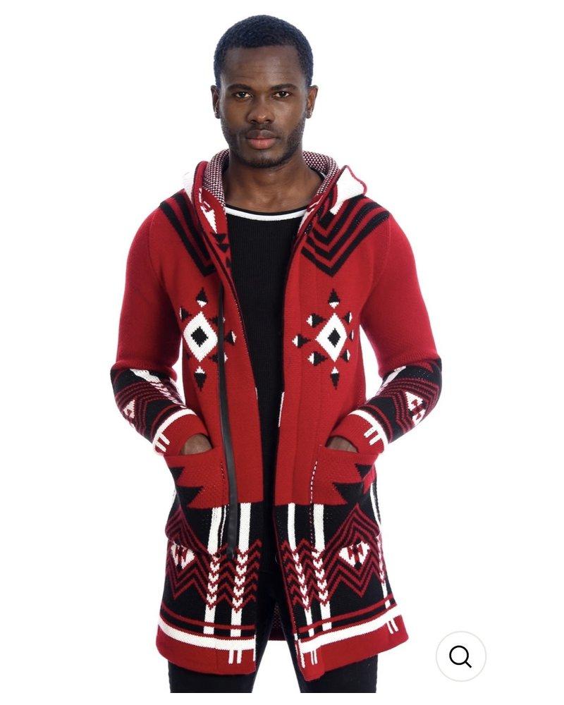 Black Edition Geometric Hooded Cardigan