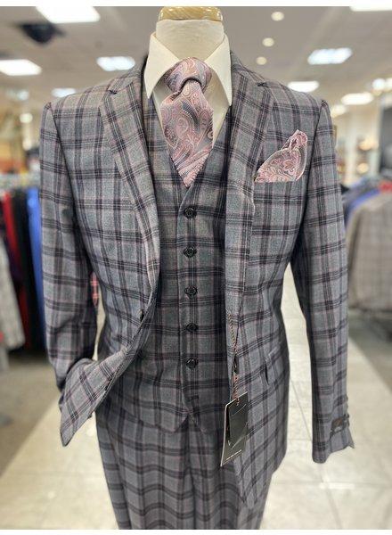 Vitali 2B Plaid Vested Suit