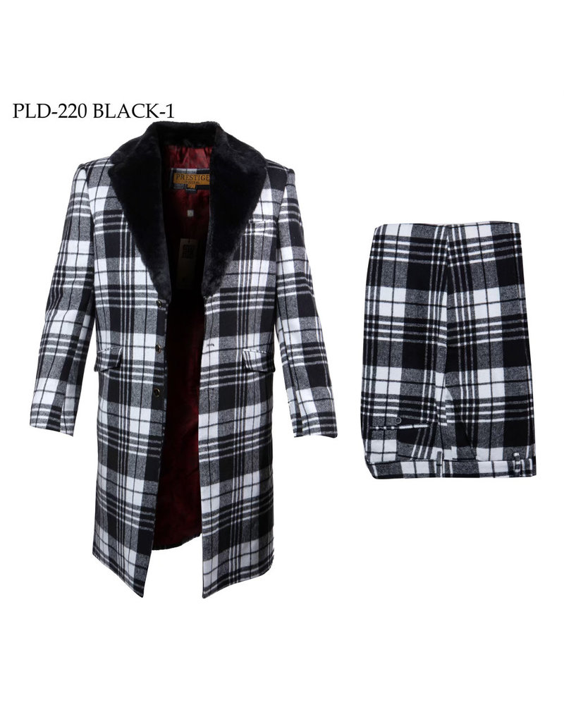 Prestige 3/4 Length  Wool Plaid Suit W/Fur