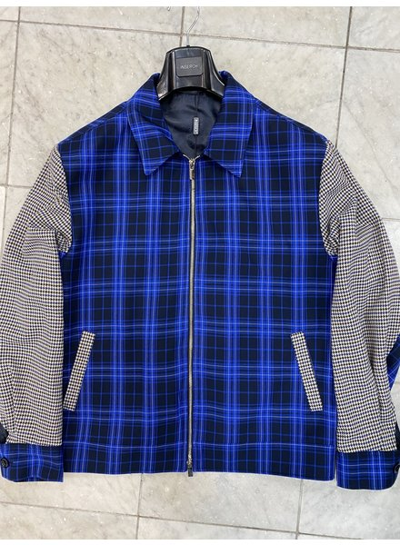 Inserch Plaid Check Full Zip Jacket W/Houndsthooth