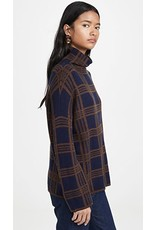 Vince Tartan Plaid Funnel Neck