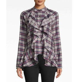 Nicole Miller Down Town Plaid Ruffle Top