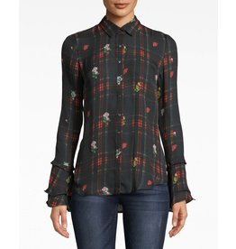 Nicole Miller Flower Plaid Blouse