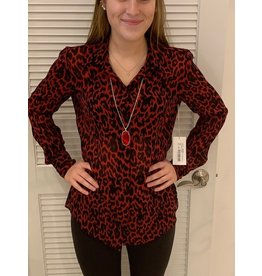 Fifteen Twenty Red Cheetah Button up