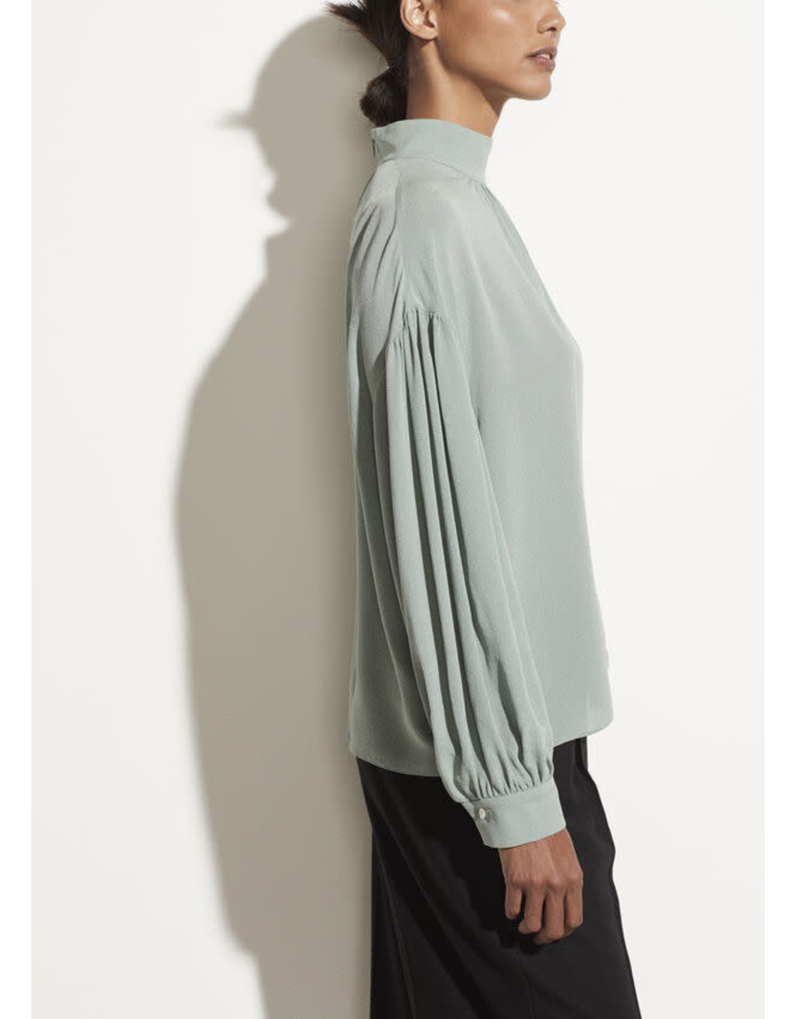Vince Shirred Mock Blouse