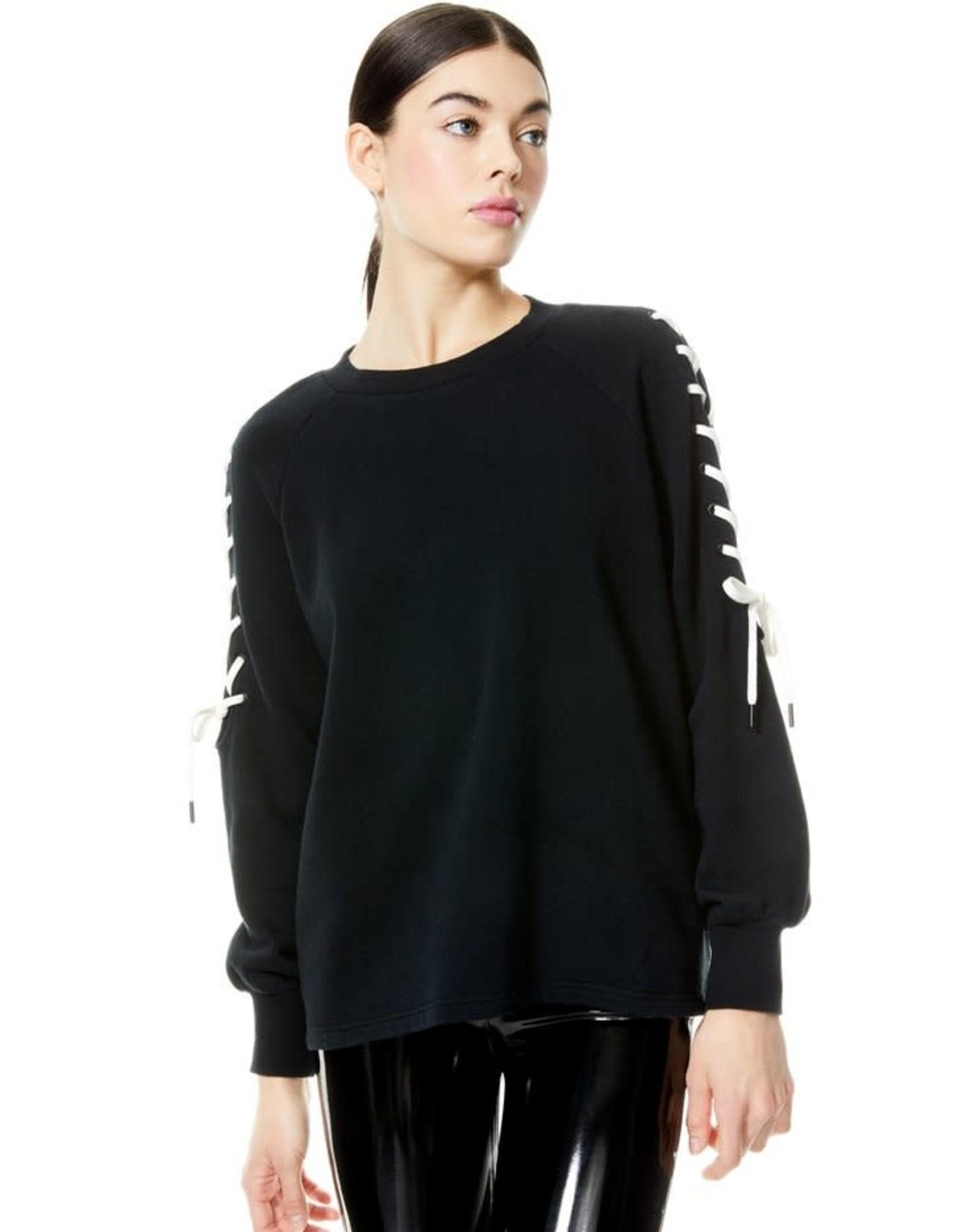 Alice & Olivia Charlotte Lace Up Sweatshirt