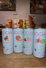 Sake Social Sparkling Sake Party Pack (2 ea of Hibiscus Cucumber, Strawberry Rose, Elderflower Apple, Grapefruit Ginger - Illinois (40oz - 8x10oz can)