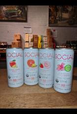Social Sparkling Sake Party Pack (1 ea of Hibiscus Cucumber, Strawberry Rose, Elderflower Apple, Grapefruit Ginger - Illinois (40oz - 4x10oz can)