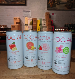 Sake Social Sparkling Sake Party Pack (2 ea of Hibiscus Cucumber, Strawberry Rose, Elderflower Apple, Grapefruit Ginger - Illinois (40oz - 8x10oz can)