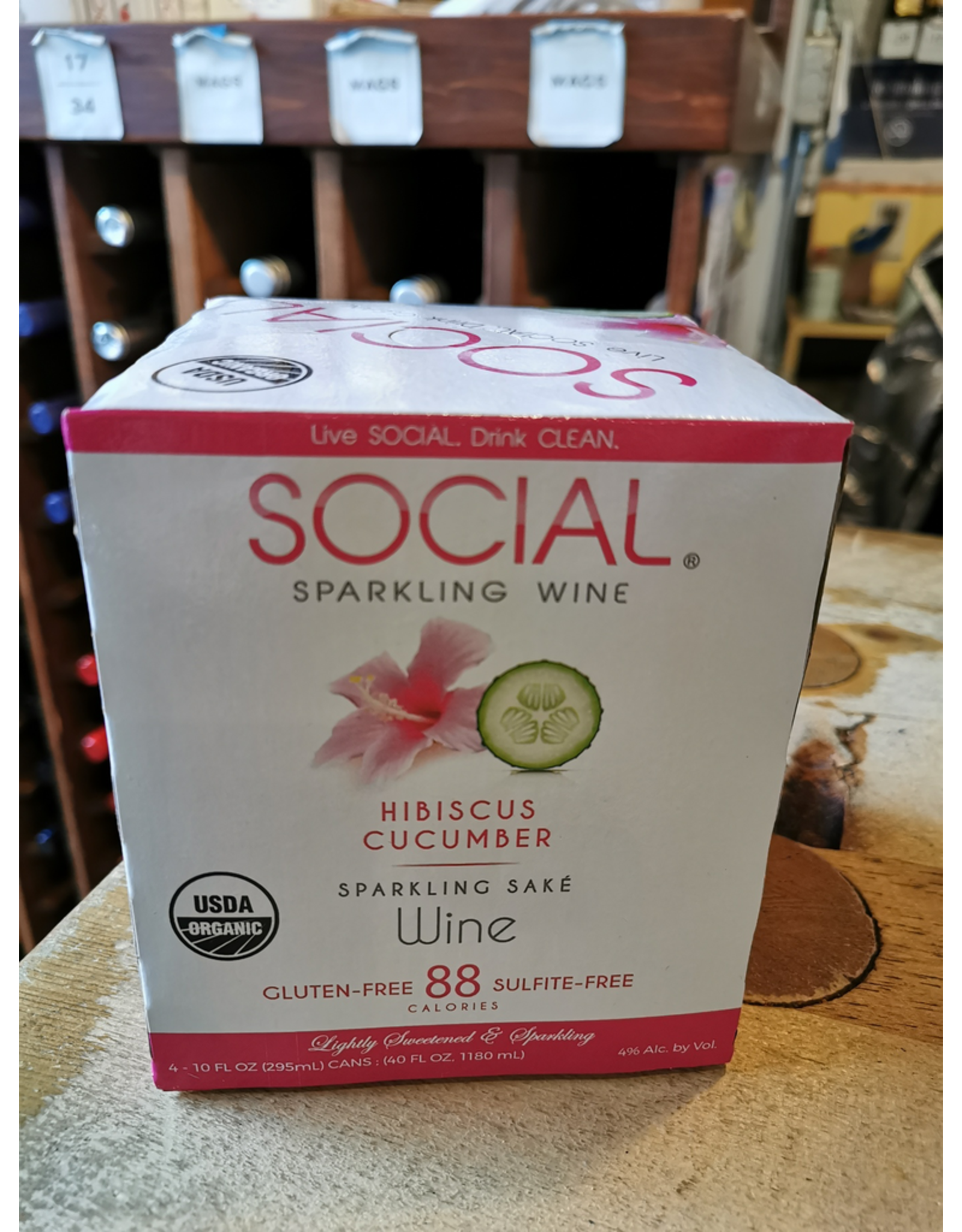 Social Pink Hibiscus Cucumber Sparkling Sake - Illinois (40oz - 4x10oz can)