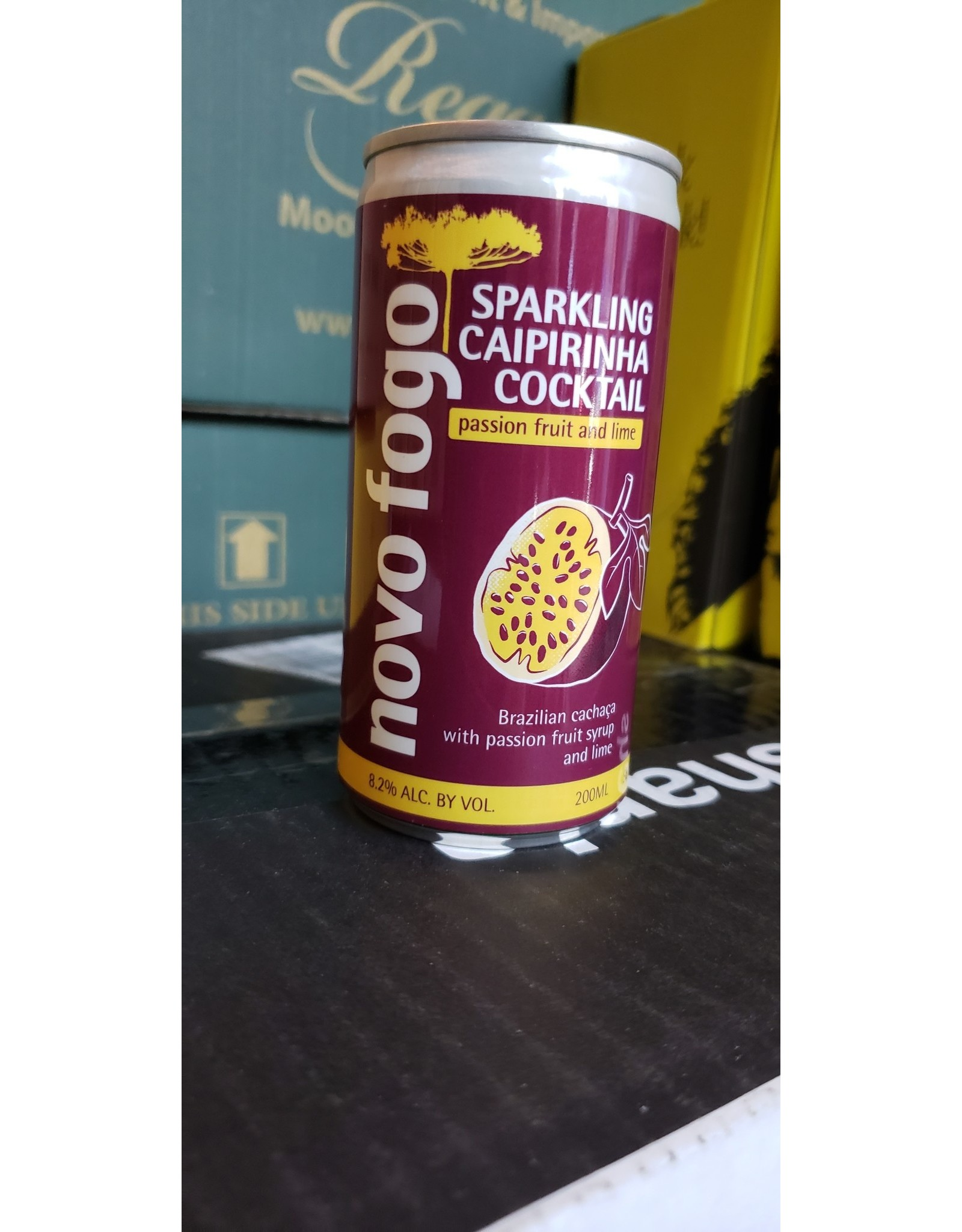 Novo Fogo Passion Fruit and Lime Sparkling Caipirinha - Brazil (200ml can)