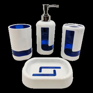 4Pcs Bath Accessory Set - Blue