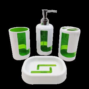 4Pcs Bath Accessory Set - Green
