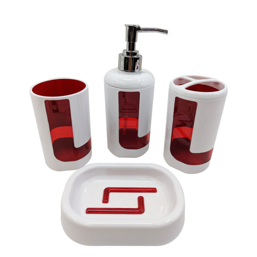 4Pcs Bath Accessory Set- Red