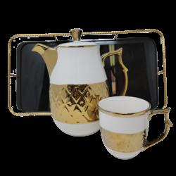8Pcs Tea Set w/ Tray- Black/Gold