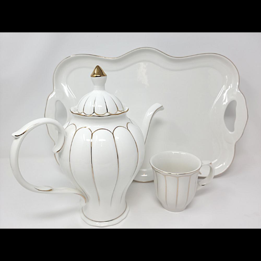8Pcs Tea Set w/ Tray- White/Gold