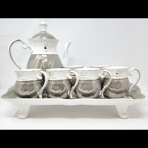 8Pcs Tea Set w/ Tray- Grey/Gold