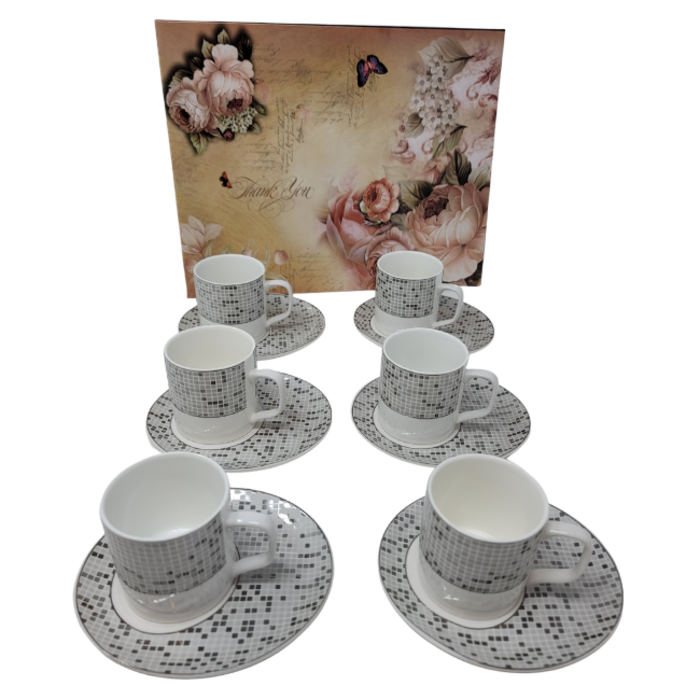 12Pcs Tea Set- Checkered Grey