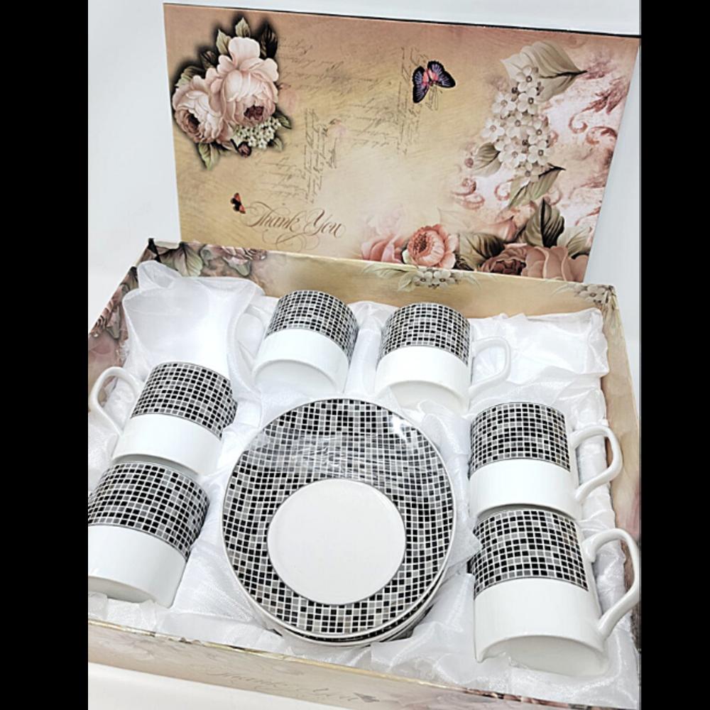 12Pcs Tea Set- Checkered Black