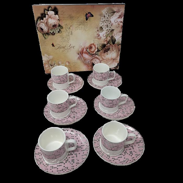 12Pcs Tea Set- Checkered Pink