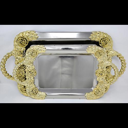 2Pcs Serving Tray Set/ Gold-Silver