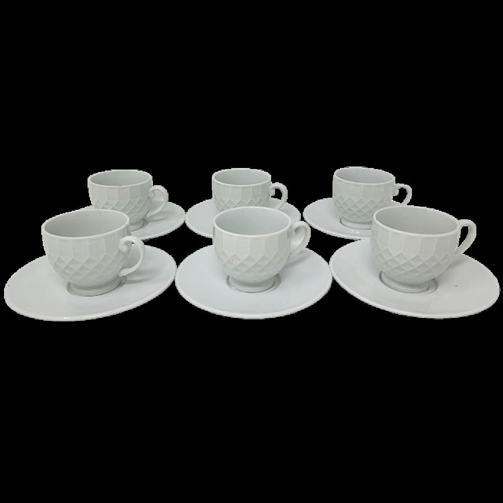 12Pcs Ceramic Cup & Saucer Set