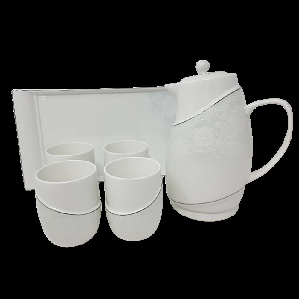 7Pcs Tea Set w/ Tea Pot & Tray (cup w/o handle)