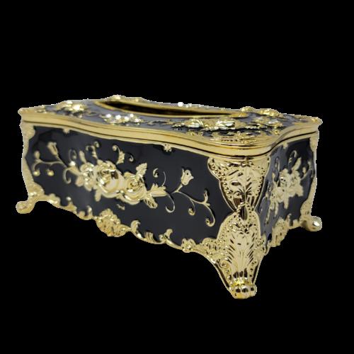 Decorative Tissue Box - Black/Gold Flowers