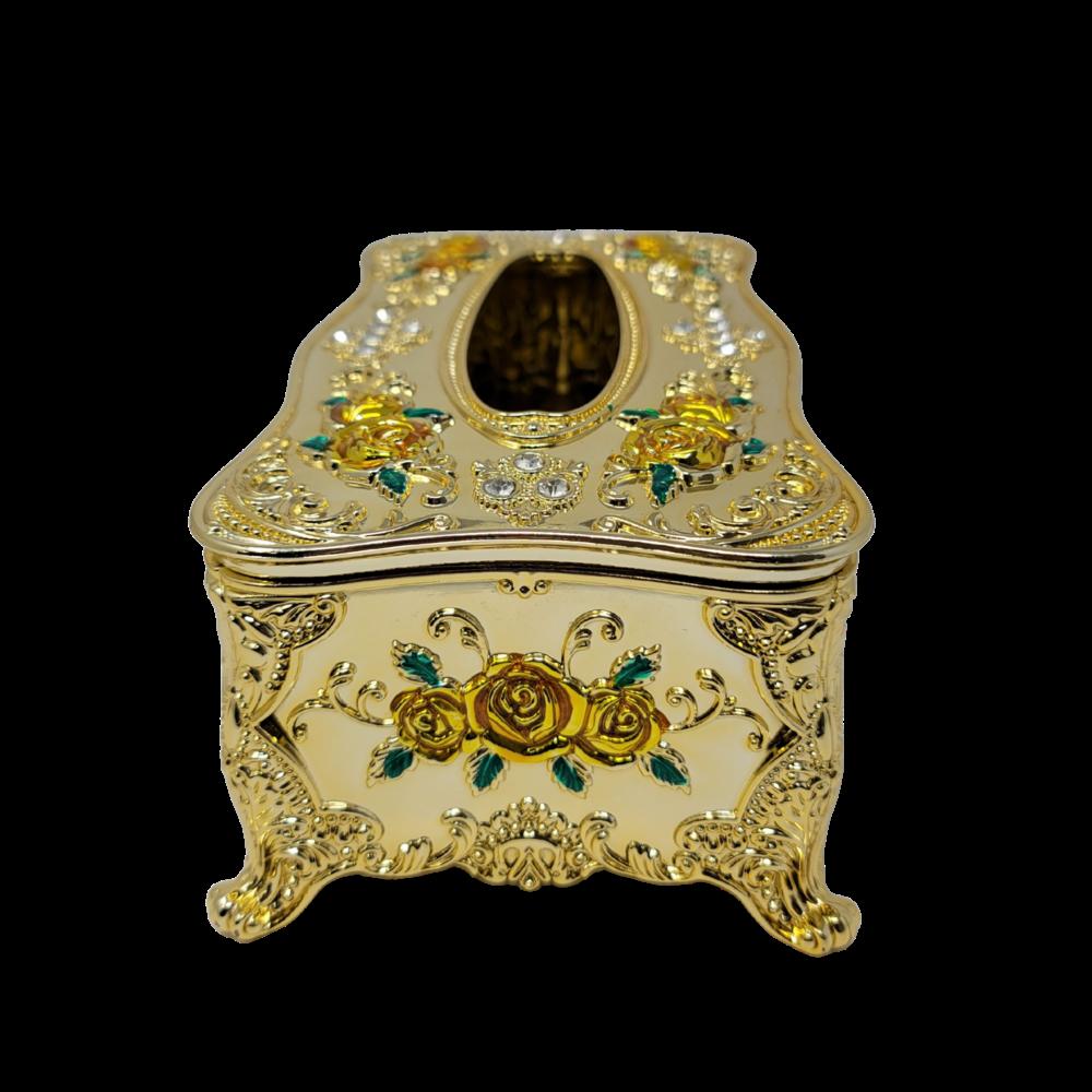 Decorative Tissue Box - Gold/Gold Flowers
