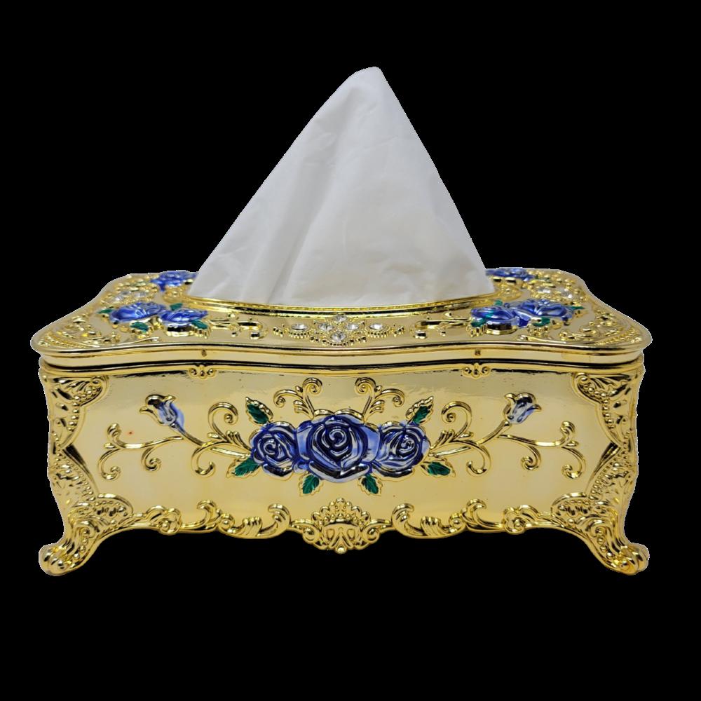 Decorative Tissue Box - Gold/Blue Flowers