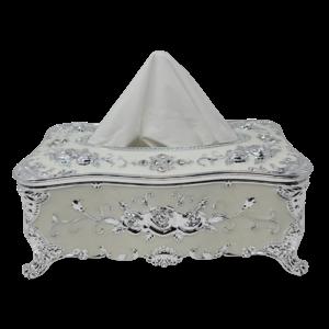 Decorative Tissue Box - White/Silver Flowers