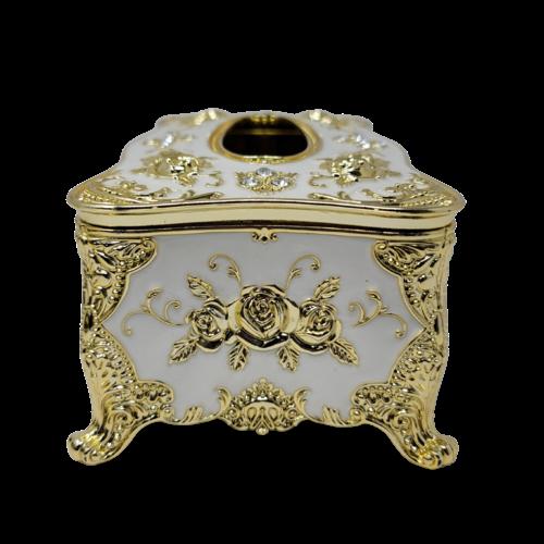 Decorative Tissue Box - White/Gold Flowers