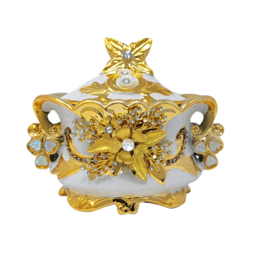 Ceramic Decorative Bowl w/Lid