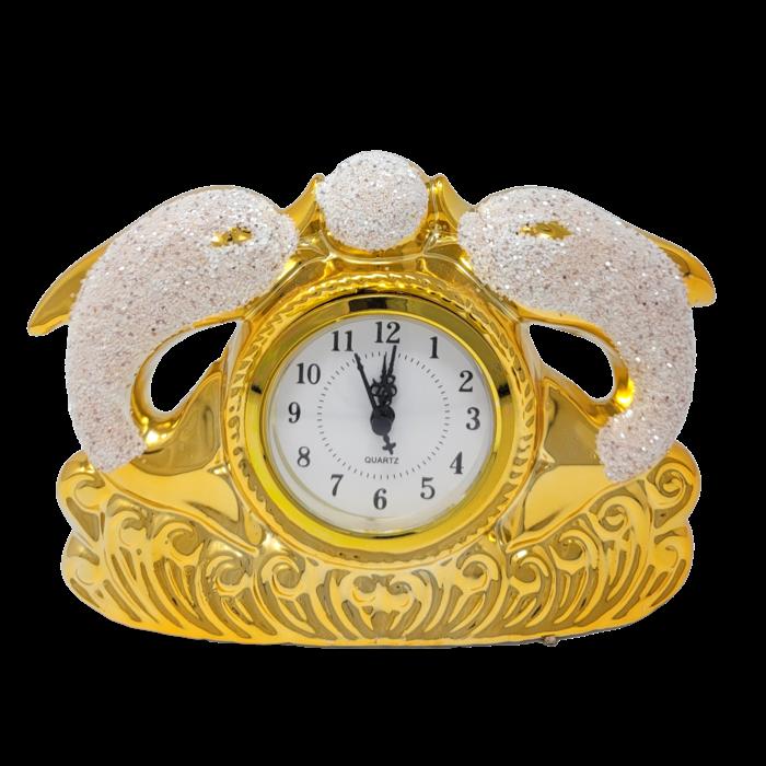 Ceramic Dolphin Ornament W/ Clock